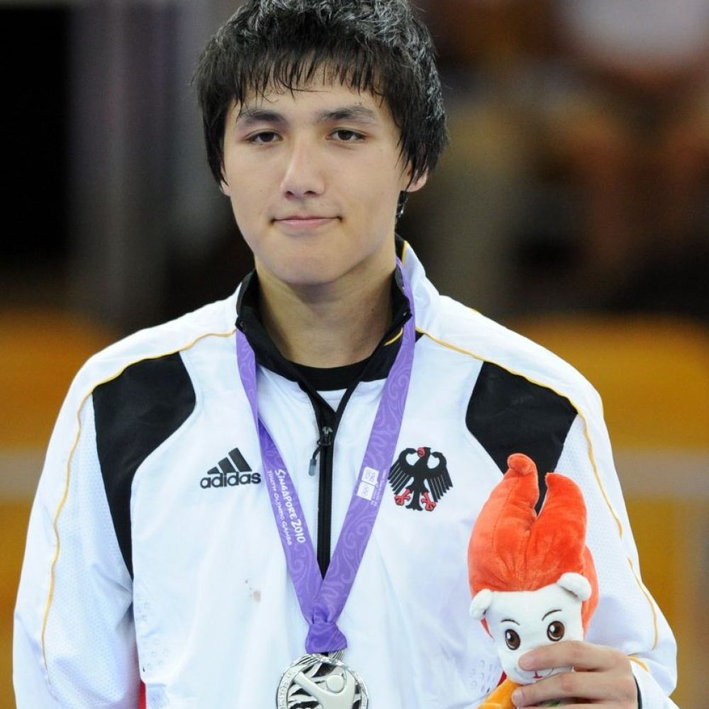 SINGAPORE,19 Aug.2010 - The silver medalist Ibrahim  Ahmadsei of Germany poses during the awarding ceremony of men's +73KG Taekwondo at the 2010 Youth Olympic Games in Singapore, August 19, 2010.